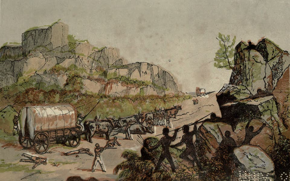 Sporting Scenes Amongst the Kaffirs of South Africa - Kaffir's Mode of Attacking a Wagon (1858)