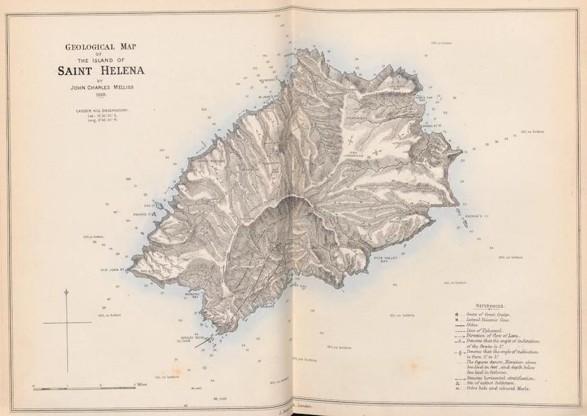 St. Helena: A Description of the Island - Geological Map of the Island of Saint Helena (1875)