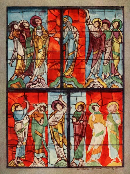 Stained Glass of the Middle Ages in England and France - The Ascension Window, Le Mans. Possibly eleventh century (1913)