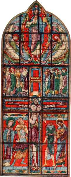 Stained Glass of the Middle Ages in England and France - Part of Crucifixion Window, Poitiers. Late twelfth century (1913)