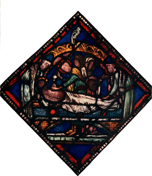 Stained Glass of the Middle Ages in England and France - The Entombment, from the east window, Canterbury. Twelfth or early thirteenth century (1913)