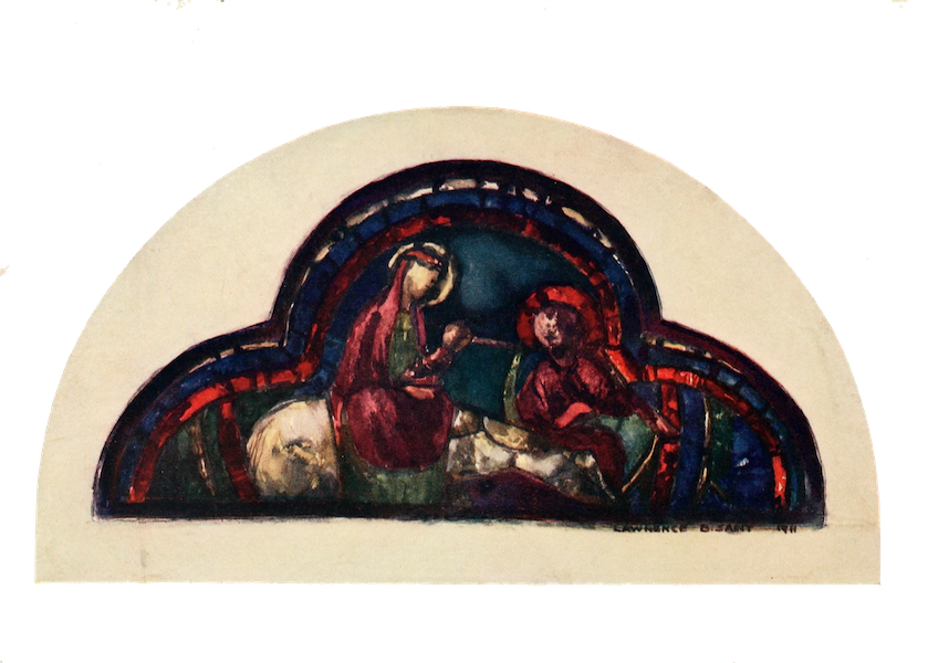 Stained Glass of the Middle Ages in England and France - The Flight into Egypt, from the south aisle, Chartres Cathedral. Thirteenth century (1913)