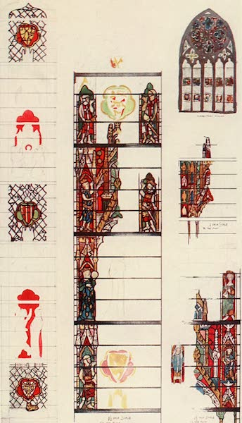 Stained Glass of the Middle Ages in England and France - Border and Shields, from Peter de Dene window, north aisle of nave, York Minster, with details from window in south aisle and sketch of clerestory window. Fourteenth century (1913)