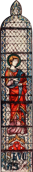 Stained Glass of the Middle Ages in England and France - St. Luke, from choir clerestory of St. Ouen, Rouen. Fourteenth century (1913)