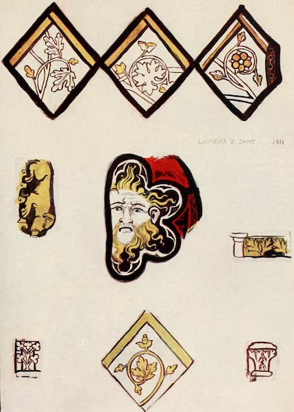 Stained Glass of the Middle Ages in England and France - Details, from St. Ouen, Rouen. Fourteenth century (1913)