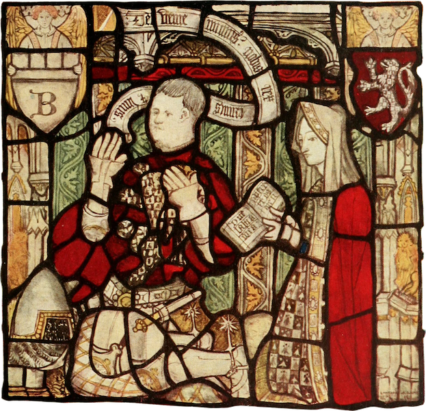 Stained Glass of the Middle Ages in England and France - Nicholas Blackburn and his wife, from east window of All Saints', North Street, York. Fifteenth century (1913)