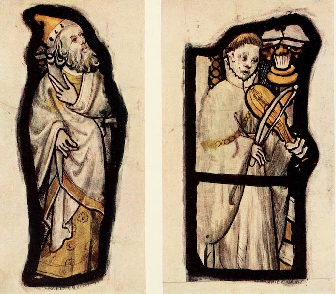 Stained Glass of the Middle Ages in England and France - Small Figures in White and Stain, from All Saints', North Street, York. Fifteenth century (1913)