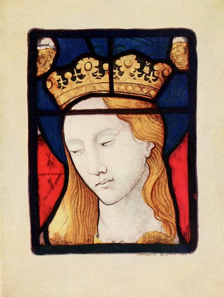 Stained Glass of the Middle Ages in England and France - Head of St. Catherine, from window above altar in north-west corner of St. Vincent's, Rouen. Fifteenth century (1913)