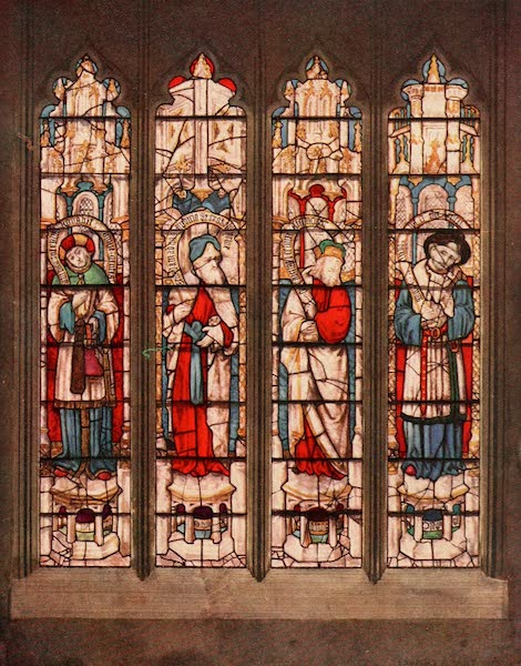 Stained Glass of the Middle Ages in England and France - The Prophets Joel, Zephaniah, Amos, and Hosea, from the north aisle of the nave, Fairford. Late fifteenth century (1913)