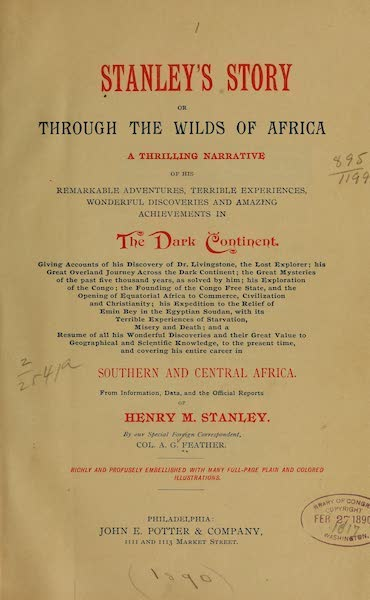 Stanley's Story - Title Page (1890)
