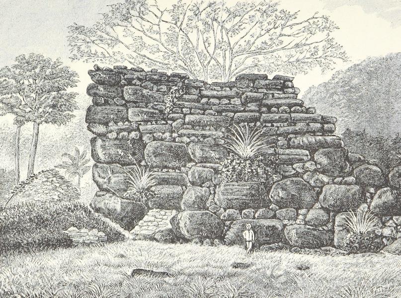 Sudsee-Erinnerungen - Ruine von Bauten auf Strongs-Island (1883)