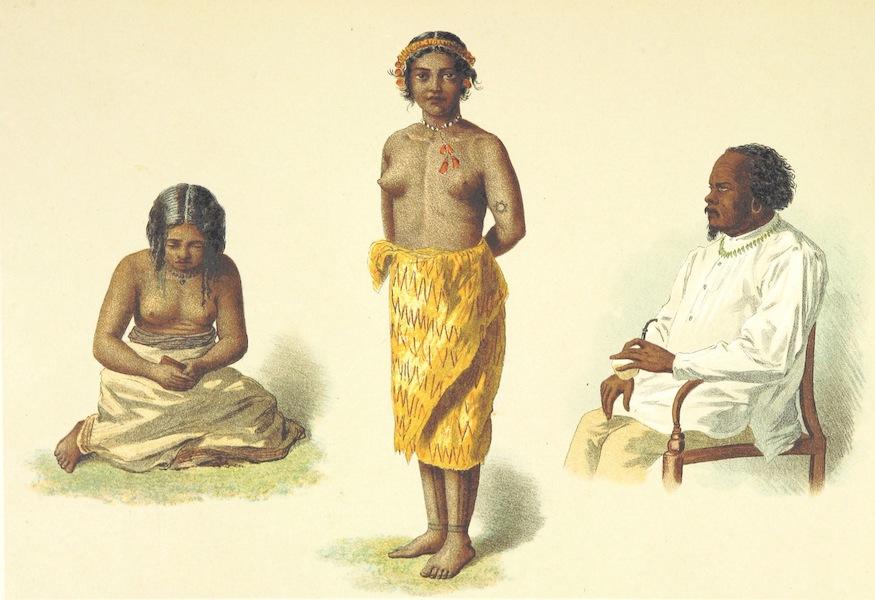 Sudsee-Erinnerungen - (Jaluit) Madchen, (Ponape) Madchen, and Kabua, Konig von Jaluit (1883)