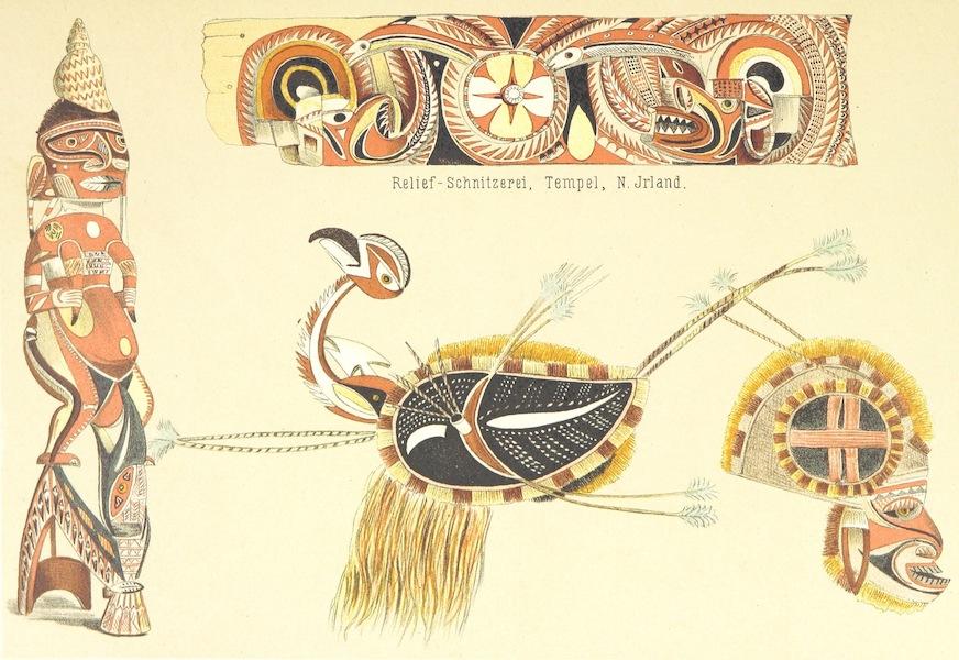 Sudsee-Erinnerungen - Relief-Schnitzerei, Temepl, N. Irland, Gotze (N. Jrland) and Tanszmaskes (N. Jrland) (1883)