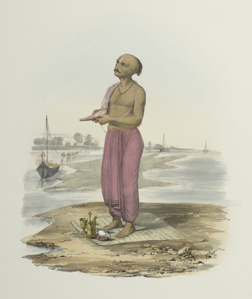 The Sundhya, or, the Daily Prayers of the Brahmins - Urghai [Arghya], offering of water, rice, &c.&c. (1851)