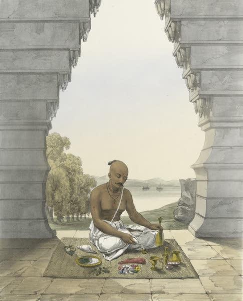 The Sundhya, or, the Daily Prayers of the Brahmins - Poojah [Puja] of Vishnoo [Vishnu]. Pouring water on the Saligram [Saligrama] (1851)