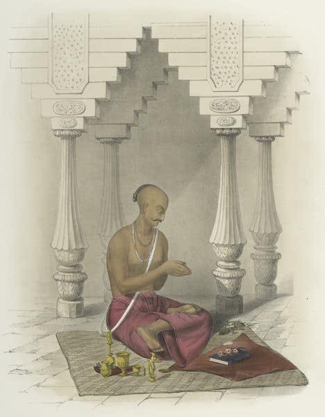 The Sundhya, or, the Daily Prayers of the Brahmins - Poojah [Puja] of Devee. Shico Shiva [Devi (Siva-Siva)]. Pudmasheen [padmasana] (1851)