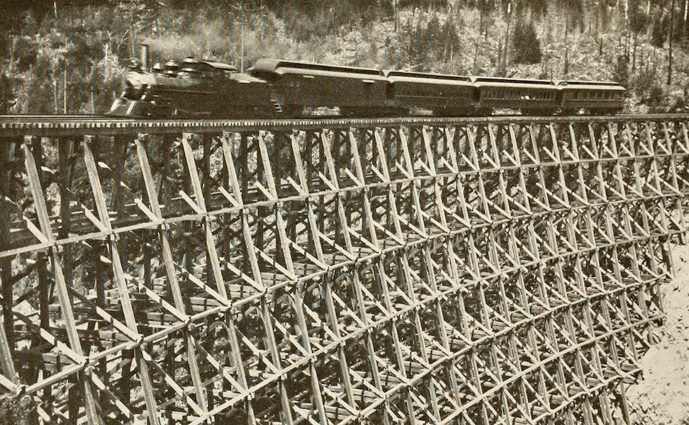 Sunset Canada, British Columbia and Beyond - Trestle of Logs on Kettle Valley Route (1918)