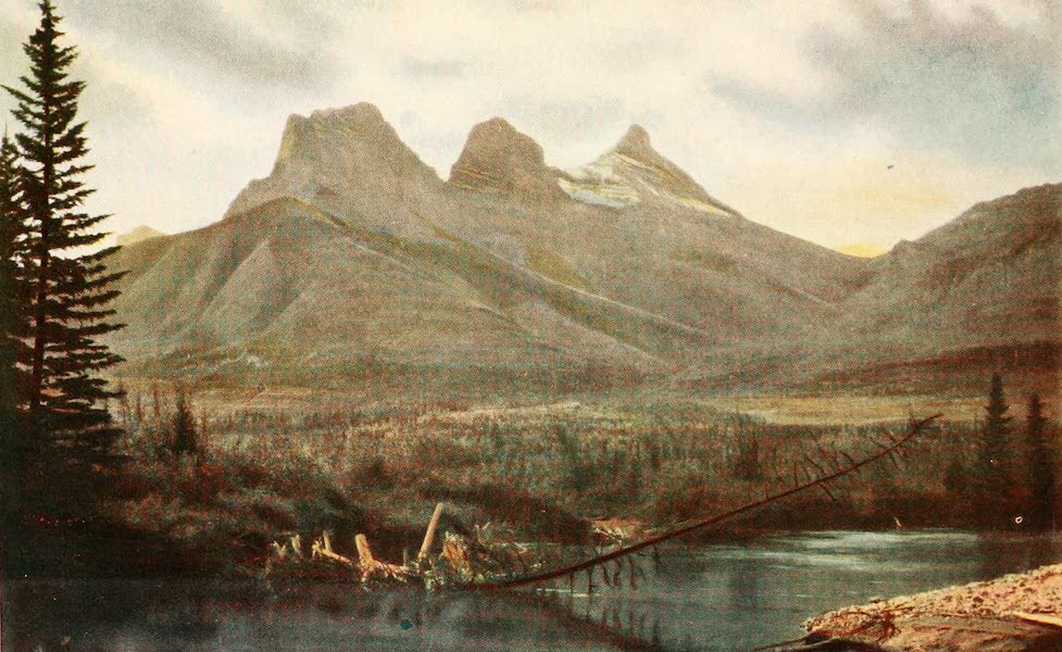 Sunset Canada, British Columbia and Beyond - The Three Sisters, near Banff (1918)