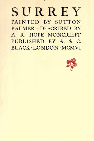Surrey Painted and Described - Title Page (1906)