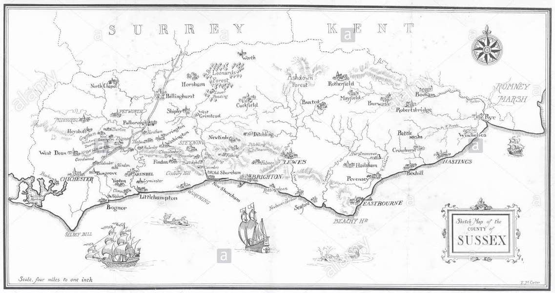 Sussex Painted and Described - Sketch Map of Sussex (1906)