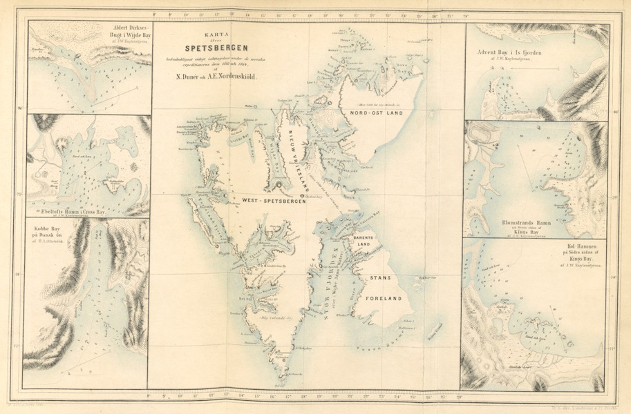 Svenska expeditionen till Spetsbergen - Karte over Spetsbergen (1865)