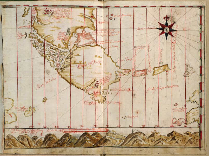 Strait of Magellan and Tierra del Fuego (1690 Spanish map insert)