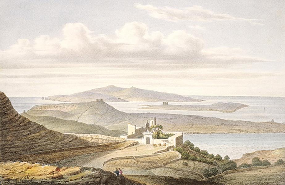 Temple Ante-Diluvien dit des Geants - Vue topographique de l'Isle de Calipso aujourd'hui Gozo prise de Malte du sommet de la colline qui conduit a l'église de Tavellera (1830)