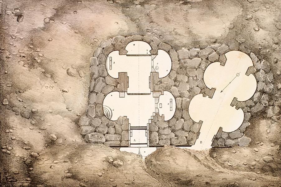 Temple Ante-Diluvien dit des Geants - Plan de ce qui reste visible du Temple des Geants dans l'isle de Calypso aujourd'hui Gozo (1830)