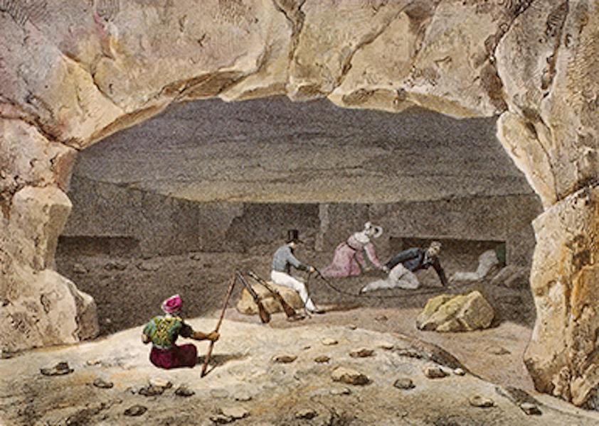 Temple Ante-Diluvien dit des Geants - Entree des Souterrains, appelés abusivement Bains de Cleopatre, près d'Alexandrie (1830)