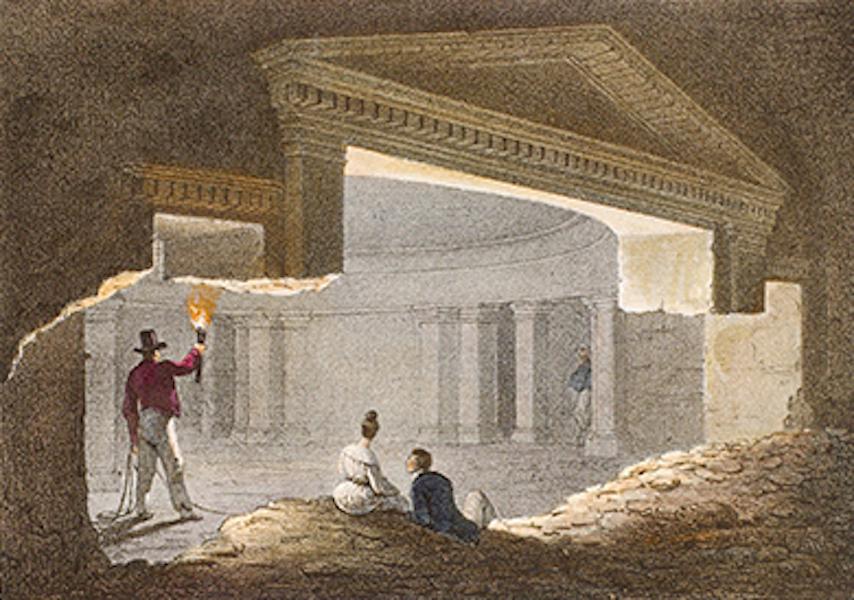 Temple Ante-Diluvien dit des Geants - Seconde vue des Souterrains, appelés Catacombes près les Bains de Cleopatre (1830)