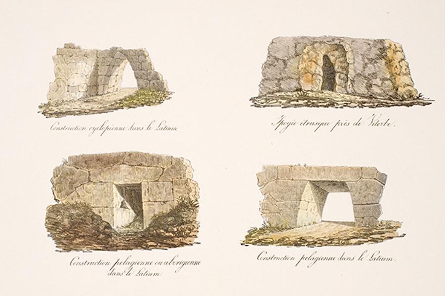 Temple Ante-Diluvien dit des Geants - Planche comparative des constructions Aborigenes (1830)