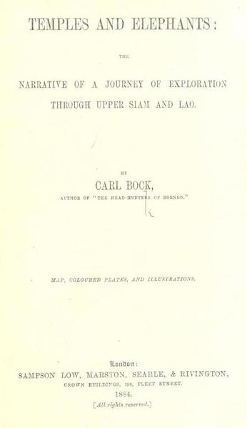 Temples and Elephants - Title Page (1884)