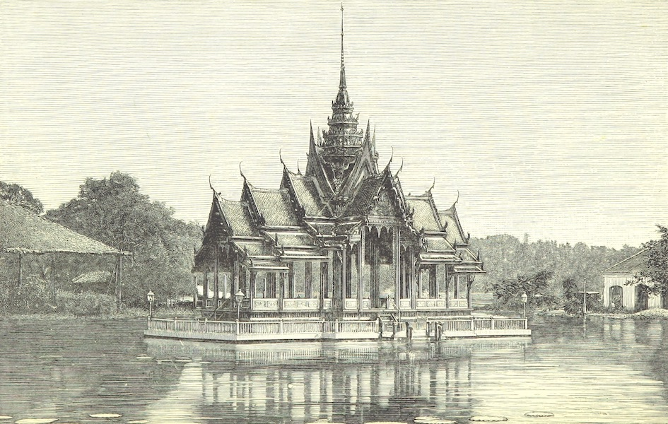 Temples and Elephants - Pavilion in the Lake at the Palace of Bang-Pa-In (1884)
