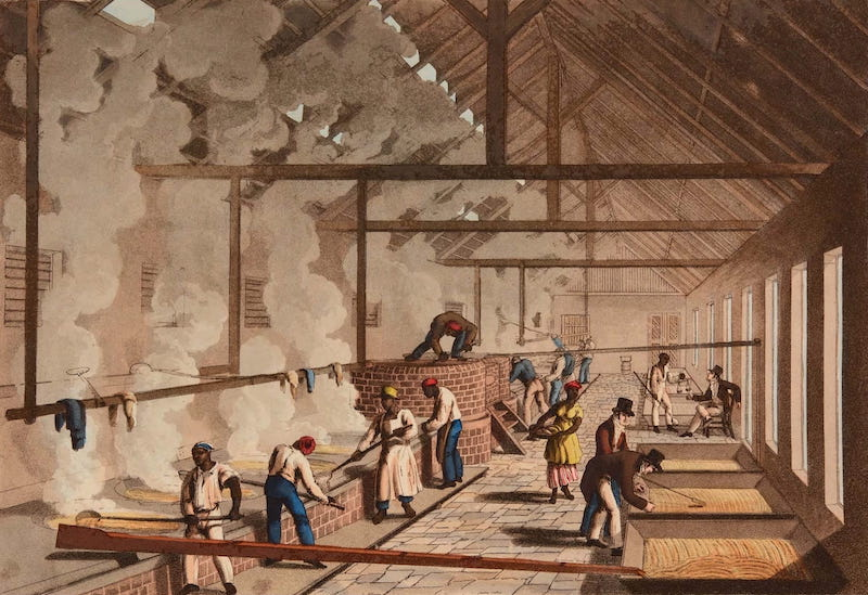 Ten Views in the Island of Antigua - Interior of a Boiling House on Delap's Estate, Antigua (1823)