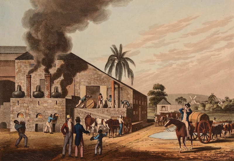 Ten Views in the Island of Antigua - Exterior of a Boiling House, on Weatherell's Estate, Antigua (1823)