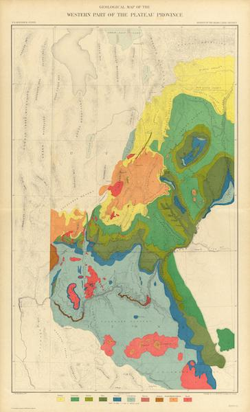 Tertiary History of the Grand Canon [Atlas] - Geological Map of the Western Part of Plateau Province (1882)