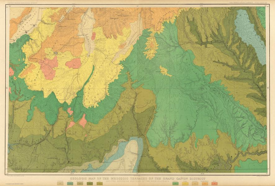 Tertiary History of the Grand Canon [Atlas] - Geologic Map of the Mesozoic Terraces of the Grand Canon District (1882)