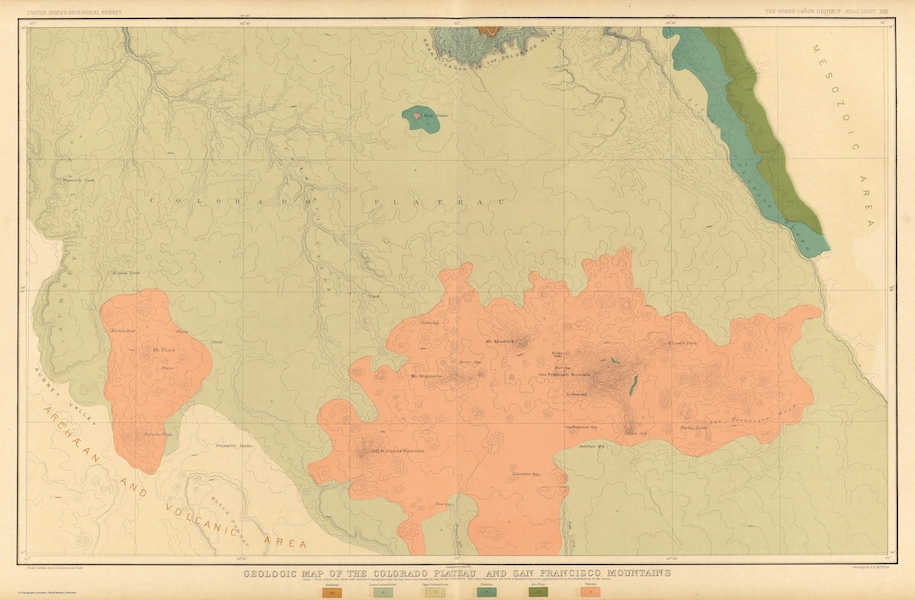 Tertiary History of the Grand Canon [Atlas] - Geologic Map of the Colorado Plateau and San Francisco Mountains (1882)