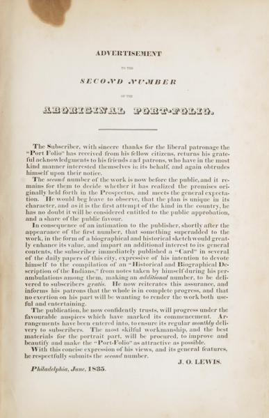The Aboriginal Port Folio - Advertisement to the Second Number (1836)