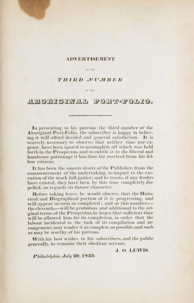 The Aboriginal Port Folio - Advertisement to the Third Number (1836)
