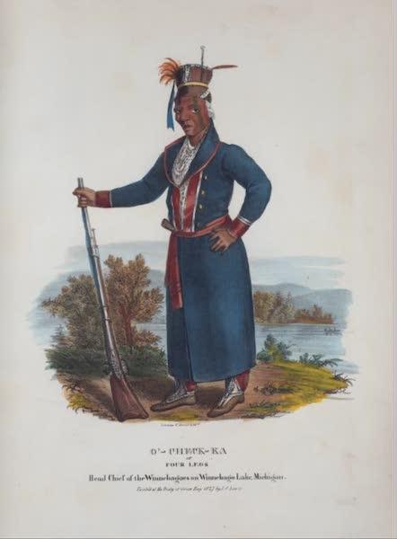 The Aboriginal Port Folio - O'-check-ka or Four Legs, Head Chief of the Winnebagoes on Winnebago Lake Michigan (1836)