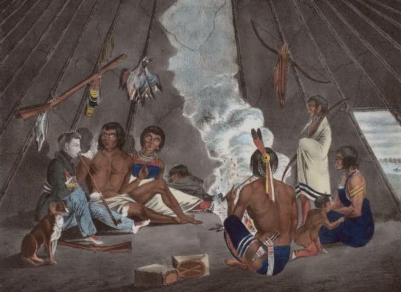 The Aboriginal Port Folio - Interior of Sioux lodge (1836)