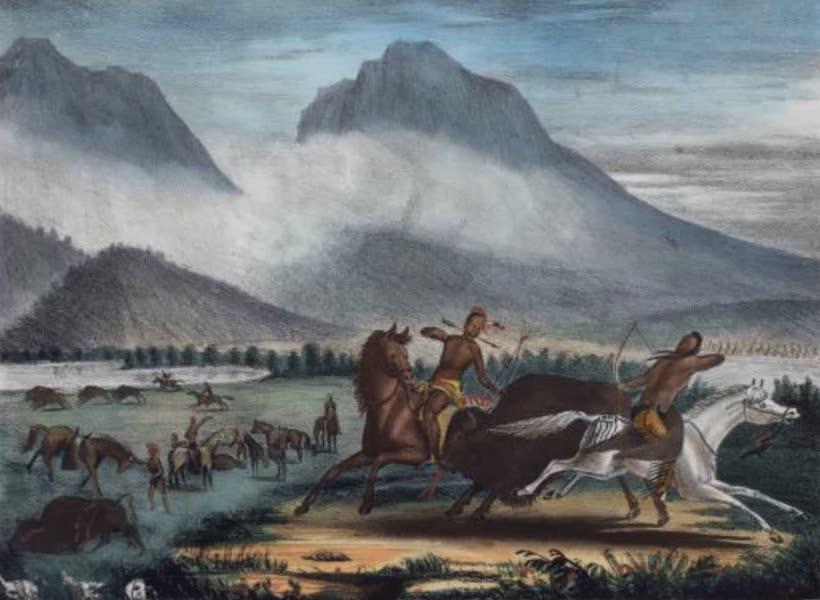 The Aboriginal Port Folio - Buffaloe hunt on the River Platte (1836)