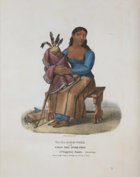 The Aboriginal Port Folio - Ta-ma-kake-toke or the Woman that Spoke First, a Chippeway squaw (mourning) (1836)