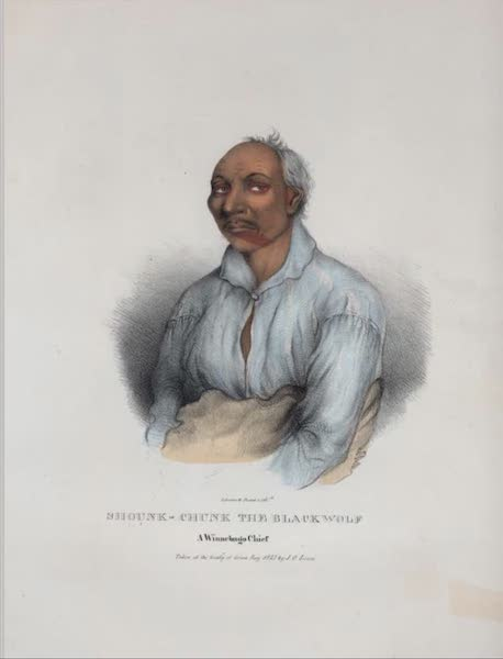 The Aboriginal Port Folio - Shounk-chunk the Black Wolf, a Winnebago Chief (1836)