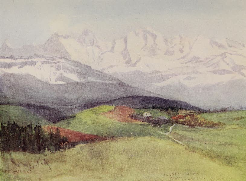 The Alps, Painted and Described - View of the Bernese Alps from the Gurten, near Bern (1904)