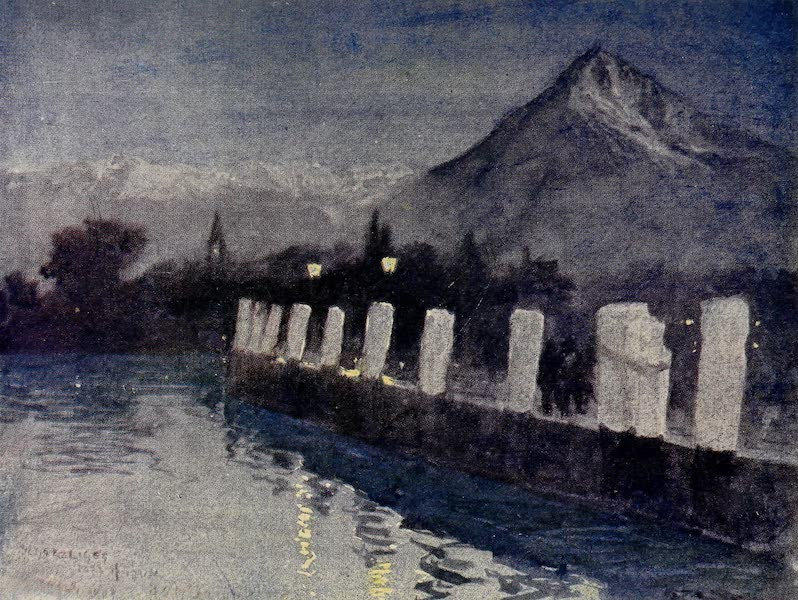 The Alps, Painted and Described - The Pier at Seherzligen, Lake of Thun - Evening (1904)