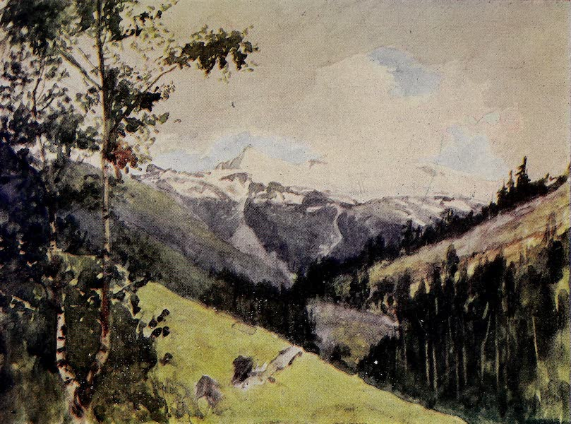 The Alps, Painted and Described - Looking up Valley towards Zermatt from near Randa (1904)