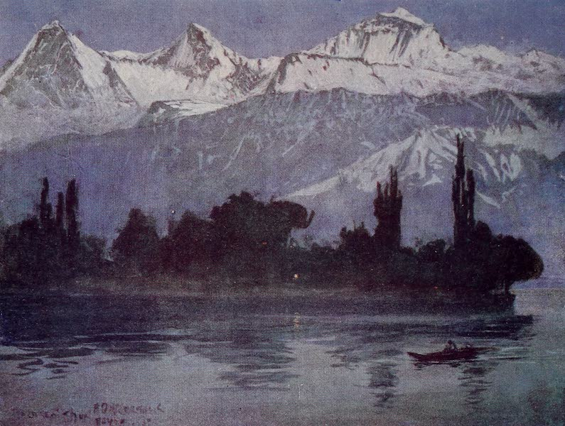 The Alps, Painted and Described - Eiger, Monch, and Jungfrau from Scherzligen, near Thun (1904)