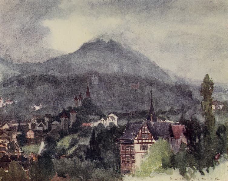 The Alps, Painted and Described - Looking over Lucerne from the Drei Linden (1904)